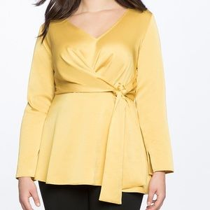 Eloquii Drape Front Tunic in Honey Gold